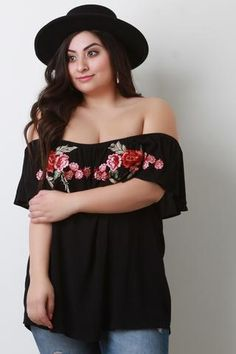 b1a12cd95454a Flutter Off The Shoulder Floral Embroidered Top Plus Size Short Sleeve Tops