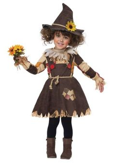 This pumpkin patch scarecrow dress costume for toddlers is an adorable look for Halloween.