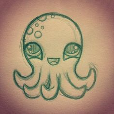 Cutest damn octopus in all the land!!! #sketch #illustration #drawing #octopus #pencil #cute
