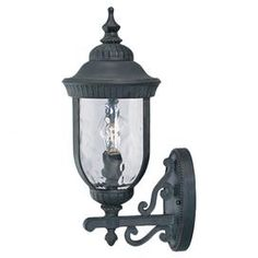 "Outdoor wall lantern with an antiqued finish, scrolled accents, and a clear watered glass shade.  Product: Wall lanternConstruction Material: Iron and glassColor: Antiqued black Accommodates: (3) 60 Watt C bulb type - not includedDimensions: 23.25"" H x 10"" W x 13.88"" D"