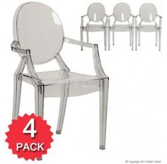 Set of 4 - Ghost Armchair Replica - Clear