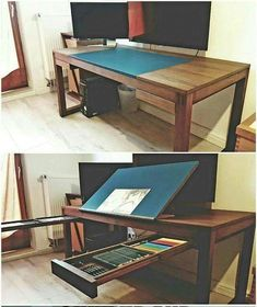 Ultimate modular convertible IT computer and art table desk workstation with drawing board surface Studio Desk, Home Studio, Diy Furniture, Furniture Design, Drawing Desk, Drawing Board, Artist Drawing Table, Drawing Tables, Art Desk