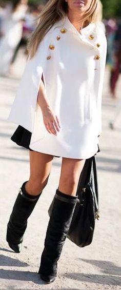 #fall #fashion / cape + boots