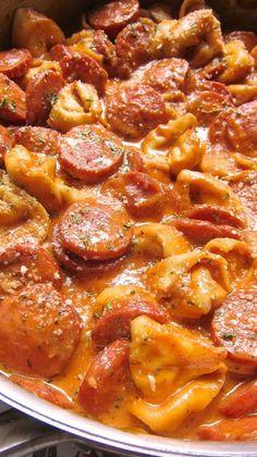 Cheesy Smoked Sausage Skillet