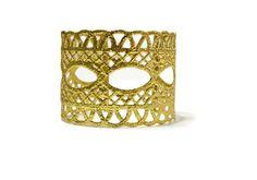 wide cuff bracelet filigree bracelet cuff wedding by MyElesi Lace Bracelet, Wedding Bracelet, Cuff Bracelets, Lace Jewelry, Metal Jewelry, Lace Cuffs, Gold Dipped, Gold Lace, Lace Weddings