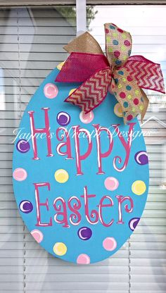 Wooden Easter Egg Door Hanger with Burlap Bow - available for pick up or shipping! $40