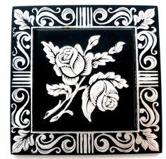 French Enamel Flower Black Brooch Trombone Clasp Square Vintage Hand Painted  #Unbranded #FlowerFloral