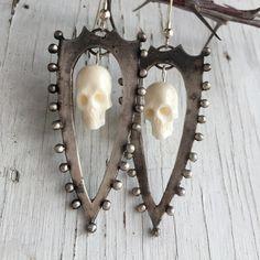 Sterling Silver Shield Earrings, Memento Mori with Ivory Bone Skulls