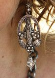 our lady of miracles saint earrings are just beautiful. perfect with everything. everyday. silverplate relic medallion with intricate detailing. handmade...