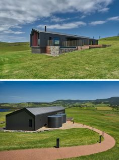 Atelier Andy Carson have designed a two bedroom modern guest house in Gerringong, Australia, that has simple farm shed like appearance, with a welcoming interior. Click through to see more photos, including the interior. Modern Barn House, Modern Shed, Long House, D House, Barn House Conversion, Farm Shed, Australia House, Casas Containers, Rural House