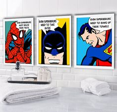 superhero bathroom sets. Personalized Kids Bathroom Rules  Superheroes Set of 3 Prints 8 Vintage comic pictures decor and ideas Pinterest