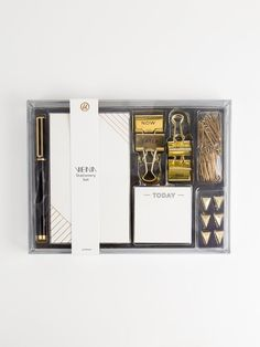 We are passionate about providing unique, well-designed products that will leave you feeling inspired. -The U Brands Team Office Stationery, Stationery Set, Planeta Venus, Office Kit, Office Decor, Modern Desk Accessories, Personalized Stationary, Gold Color Scheme, Office Essentials