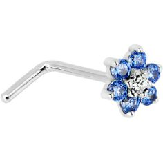 Solid 14KT White Gold Arctic Blue and Clear Cubic Zirconia Flower L-Shaped Nose Ring - 20 Gauge Body Candy. $84.99