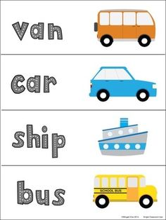 Transportation Vocabulary Word Wall Words and Student Reference Sheets $