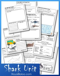 This unit study is designed for kids in 1st-3rd grade What's in the pack? Information about Sharks, mazes, math, coloring, and more! Scroll Down to download the Shark Unit! Graphics fr…