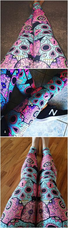Sugar skull leggings, amazing quality, extremely soft and squats approved (won't turn see through).