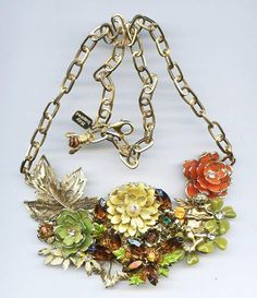 Angels Amongst the Fall - Repurposed Collage Statement Necklace Gold Tone Greens, Ambers and Yellow tones