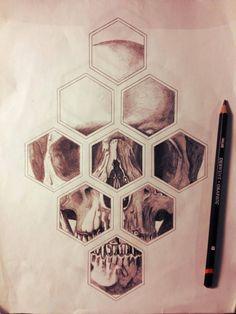 #skull #geometric #tattoo do love skull tattoo but the hexagonal framing is interesting