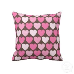 """Pink hearts on brown preppy chic custom pillow. Throw Pillow 20"""" x 20""""."""
