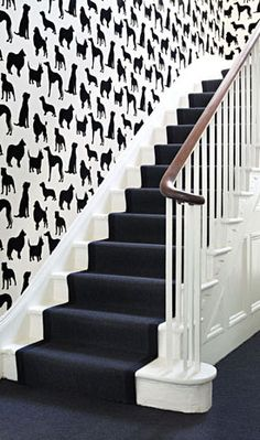 Wallpaper by Osborne and Little + stairwell Osborne And Little Wallpaper, Funky Wallpaper, Wallpaper Stairs, Bathroom Wallpaper, Print Wallpaper, Velvet Wallpaper, Future Wallpaper, Interior Wallpaper, Graphic Wallpaper