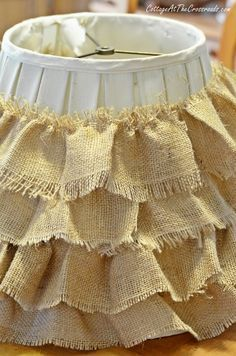 DIY Ruffled Burlap Shade - Cottage at the Crossroads