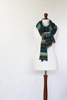Brown shawl knit scarf knit shawl blue scarf by KnitwearFactory, $75.00