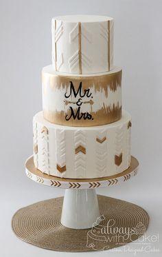 Modern Arrow Wedding Cake