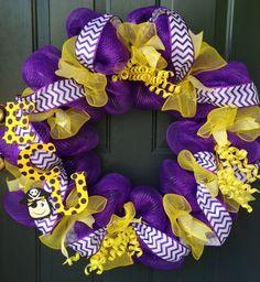 ECU spirit wreath/ LSU spirit wreath by KreationsbyKatelyn on Etsy, $49.99