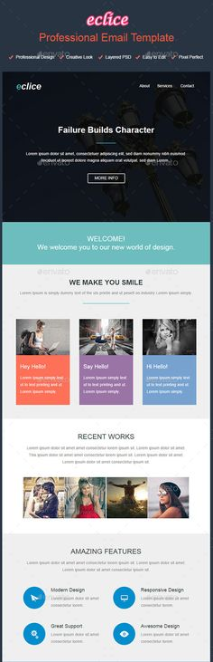Eclice - Professional Email Template (Photoshop PSD, JPG Image, CS, black, blue, business, colorful, corporate, creative, e-newsletter, email, fresh, modern, newsletter, psd design, purple, red, template design)