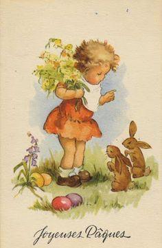 Old Easter Post Card — Easter Greetings Easter Art, Hoppy Easter, Vintage Easter, Vintage Holiday, Vintage Greeting Cards, Vintage Postcards, Easter Illustration, Illustrations Vintage, Easter Wishes