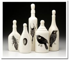 Stunning collections by Laura Zindel.  I'd be tickled pink to have any of these on my table.