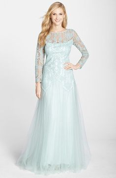 Tadashi Shoji Embroidered Tulle A-Line wedding Gown pale blue | Nordstrom