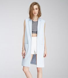 Forever 21 Open-Front Longline Vest in baby blue with collar