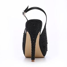 ae0b54424475 ERIJUNOR Women High Heel Peep Toe Rhinestones Platform Pumps Wedding  Evening Dress Shoes
