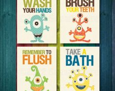 Kids bathroom art Baby bathroom children's by SugarInspire on Etsy