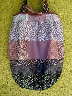 purple handmade patchwork bag