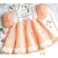 (Leisure Arts Leaflet #2071) Fanning out at the hemline, frothy rows of white finish off this flowing dress like whipped cream on a frosty dessert. The yummy fashion is crocheted using baby fingering weight yarn and size D and E hooks. Number of Designs: 1 baby dress Approximate Design Size: Size 12 to 18 months