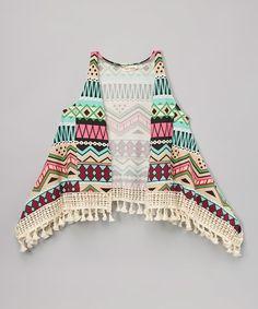 Look what I found on #zulily! Cream Geometric Fringe Dress - Toddler & Girls #zulilyfinds
