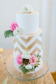 cake pink gold wedding new years eve Ashlee Virginia Events Rachael May Photography 275x412 Cheers! Sophisticated New Years Eve Wedding Reception