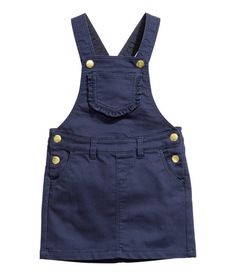 Pinafore dress in soft stretch twill with adjustable straps with press-studs, a chest pocket with a frilled edge, front and back pockets and Denim Pinafore, Pinafore Dress, Kids Dress Wear, Baby Dress, Cute Outfits For Kids, Toddler Girl Outfits, Baby Jeans, Kind Mode, Kids Fashion