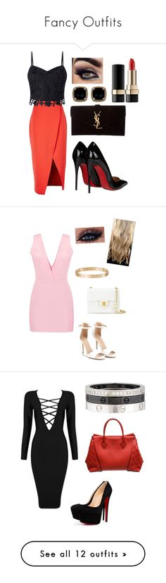 """""""Fancy Outfits"""" by fashionblogger2122 on Polyvore featuring C/MEO COLLECTIVE, Lipsy, Christian Louboutin, Yves Saint Laurent, Phillip Gavriel, Dolce&Gabbana, Chanel, Cartier, Posh Girl and Louis Vuitton"""