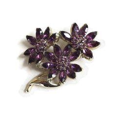 Purple Rhinestone Flowers Brooch 1950s Vintage by MyVintageJewels