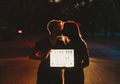 22 Cute Engagement Announcement Ideas You'll Want to Copy - Trust us—you won't want to spill the beans until you've seen these cute and creative engagement announcement ideas. light up sign love you to the moon kiss night {Dewitt for Love Photography} Creative Engagement Announcement, Engagement Photos, Light Up Signs, Number Balloons, Focus Photography, Cute Signs, Champagne Bottles, Party Props, Fall Photos
