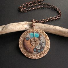 Anna Fidecka - Yaxilan pendant - polymer clay, bronze clay,,,X use textured copper washer, clay bead and flat finding ~