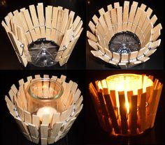 Palmatòria: Agulles d'estendre de fusta, base d'ampolla de plàstic, envàs de iogurt de vidre i espelma.
