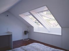 Buy online Gpl white By velux, top-hung manually operated wooden roof window, top-hung roof windows Collection Skylight Window, Roof Window, Attic Spaces, Attic Rooms, Roof Design, Window Design, Modern Barn House, Small Home Offices, Attic Loft