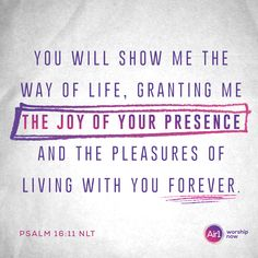 You will show me the way of life, granting me the joy of your presence and the pleasures of living with you forever. –Psalm 16:11 NLT #VerseOfTheDay #Bible