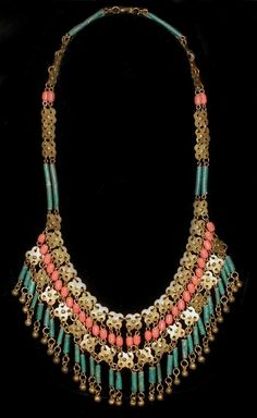 920's Art Deco     Egyptian Revival Turquoise Faience & Coral Bead Necklace