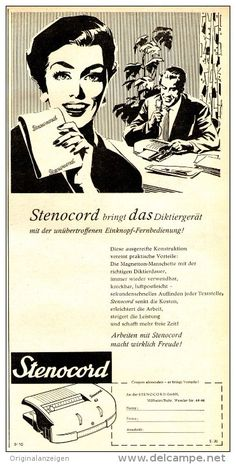 Original-Werbung/ Anzeige 1958 - STENOCORD / MÜHLHEIM - RUHR - ca. 120 x 240 mm