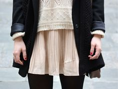 LOVE the neutral vs black; textured knit vs soft pleated skirt...